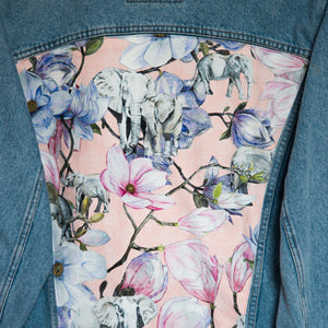 'Carrera' Denim jacket, Pink Magnolia Elephants design