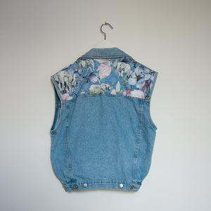 'Love for nature' Denim waistcoat, Blue Magnolia Elephant design