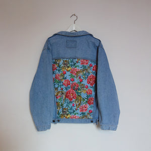 Super rifle Denim Jacket, Tigers and Peonies design