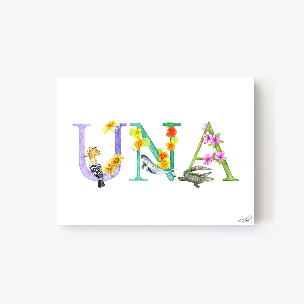 Animal Alphabet Custom Names - Print on Canvas