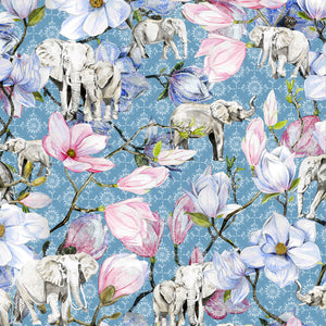 Elephants and Magnolia (Blue)