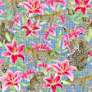 Leopards and Lilies (Blue)