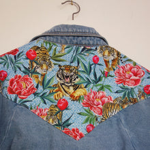 Load image into Gallery viewer, Brandy Melville Denim Jacket, Tigers and Peonies