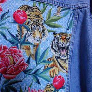 Casucci Denim Jacket, Tigers and Peonies design