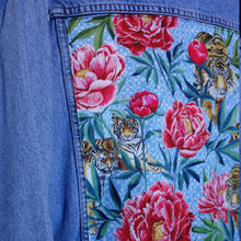 Load image into Gallery viewer, Casucci Denim Jacket, Tigers and Peonies design