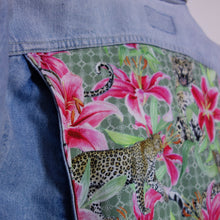 Load image into Gallery viewer, Rifle denim jacket, Green Leopards and Lilies