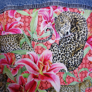 Extream Denim Jacket, PINK Leopards and Lilies design *LIMITED EDITION*