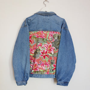 'Indigo Seal' Denim Jacket, Pink Leopard Lily design.