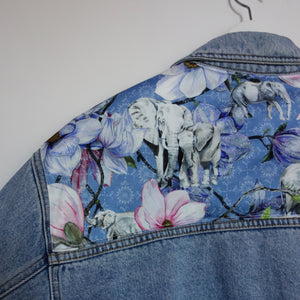 Holiday Denim jacket, Blue Magnolia Elephants