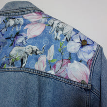 Load image into Gallery viewer, Holiday Denim jacket, Blue Magnolia Elephants