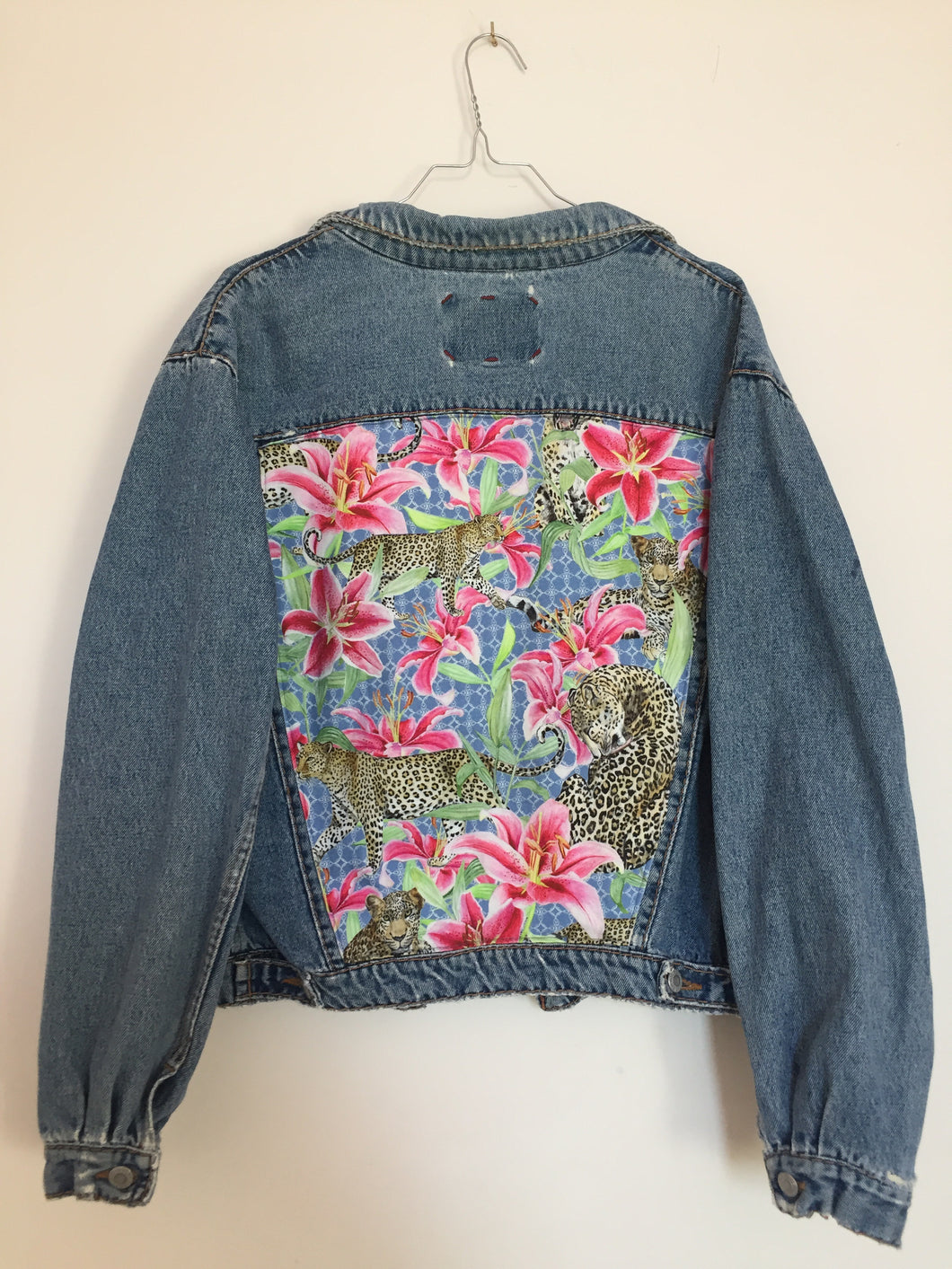 'Fiorucci' Denim jacket, Leopards and Lilies design