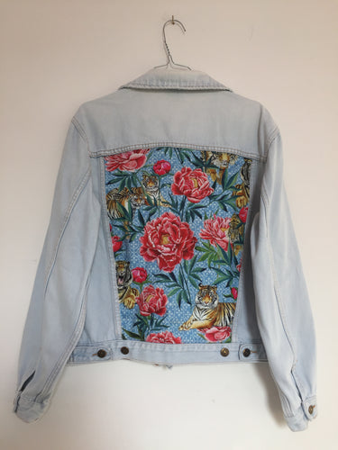 Levi's denim jacket, Tigers and Peonies design
