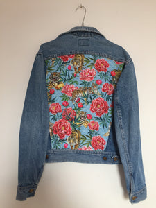 'Rifle' denim jacket, Tigers and Peonies design
