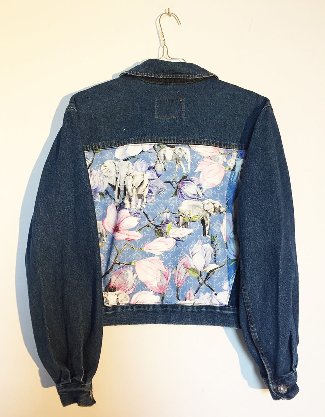 'Gold' denim jacket, blue elephant design