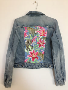'Diesel' Denim jacket, Leopards and Lilies design