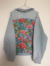 Load image into Gallery viewer, 'Witboy' denim jacket, Tigers and Peonies design