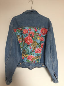 'Quarry' denim jacket, Tigers and Peonies design