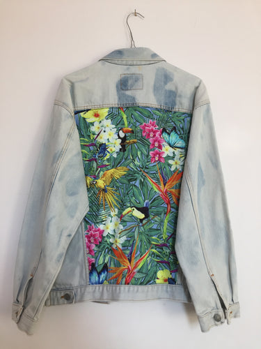 Bleached Levi's denim jacket, Tropical Rainforest design