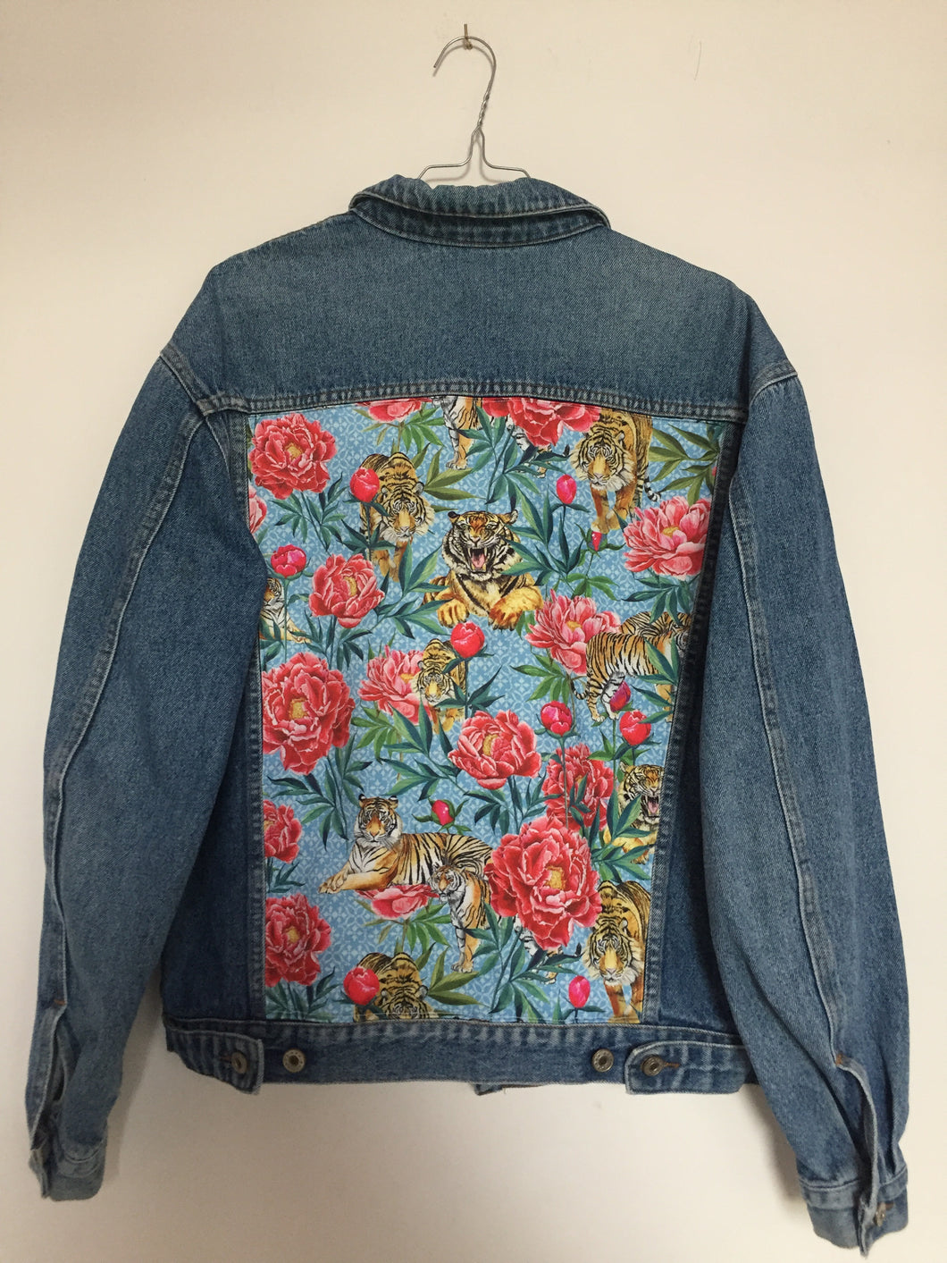 'Anthony's' denim jacket, Tigers and Peonies design