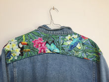 Load image into Gallery viewer, 'Fax 6.14' denim jacket, Tropical Rainforest design