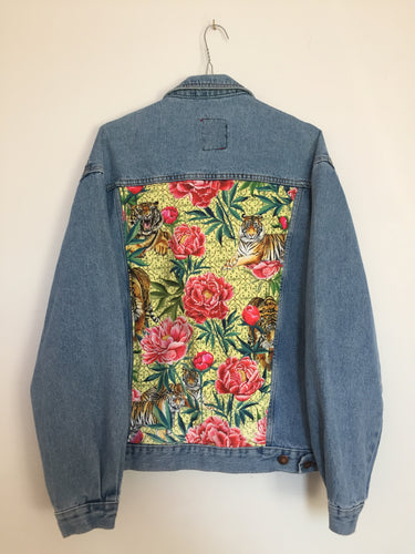 'Casucci' denim jacket, Tigers and Peonies design