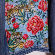 Load image into Gallery viewer, Mash Denim jacket, Tigers and Peonies design