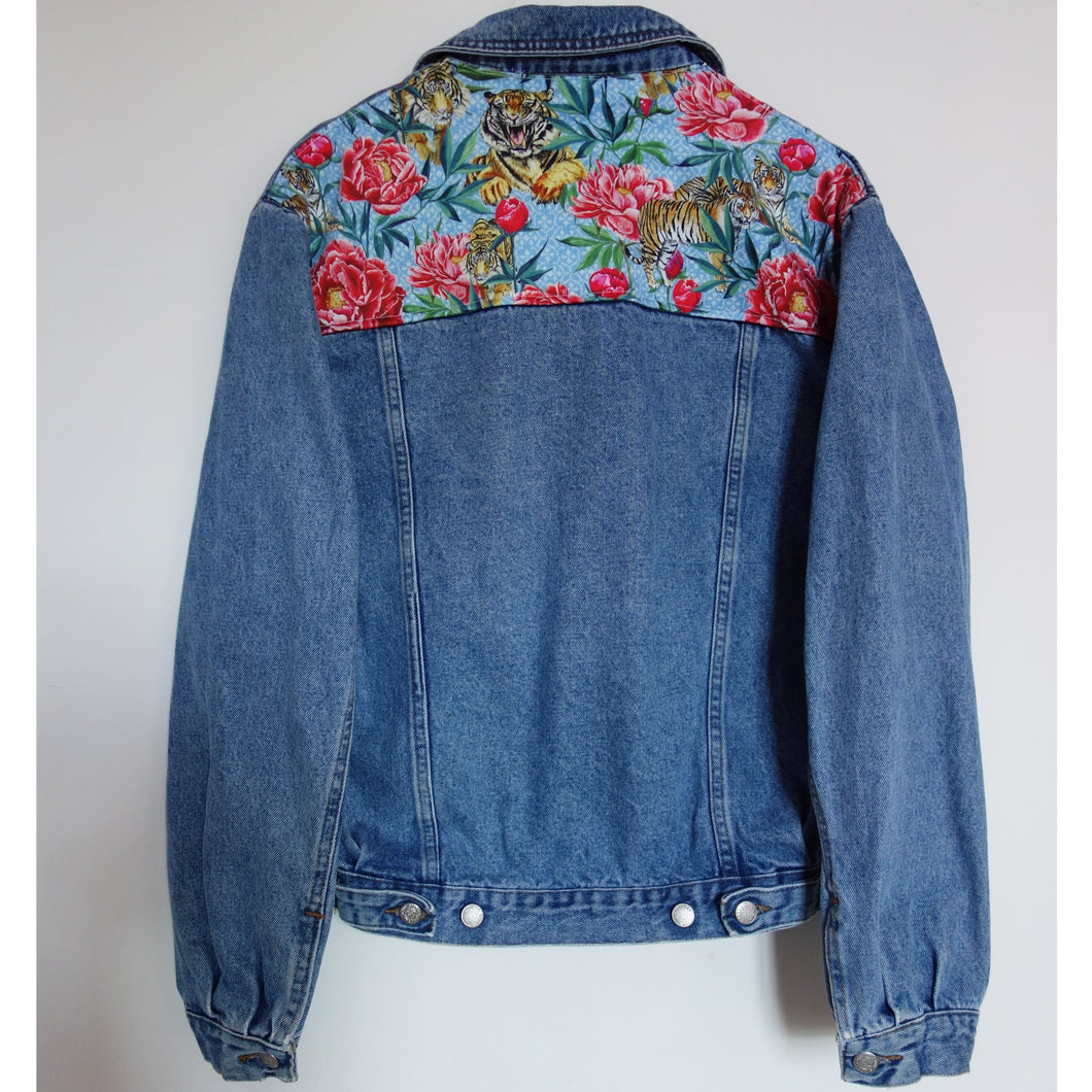 'Perry' Denim jacket, Tigers and Peonies