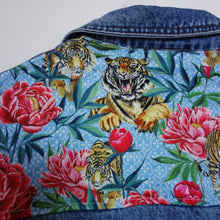 Load image into Gallery viewer, 'Perry' Denim jacket, Tigers and Peonies