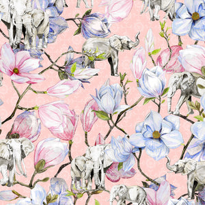 Elephants and Magnolia (Pink)