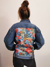 Load image into Gallery viewer, 'Anthony's' denim jacket, Tigers and Peonies design