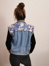 Load image into Gallery viewer, 'Love for nature' Denim waistcoat, Blue Magnolia Elephant design