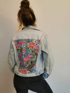'United colours of Benetton' denim jacket, Leopards and Lilies design