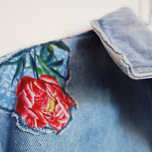 'Patch' Denim Jacket, Tigers and Peonies design