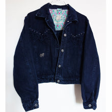 Load image into Gallery viewer, *Sparkly* 'Bianca Maria' Denim Jacket, Blue Magnolia Elephants