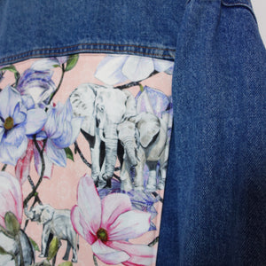'Spotty' denim jacket, Pink Magnolia Elephants