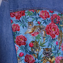 Load image into Gallery viewer, 'Wampum' Denim Jacket, Tigers and Peonies