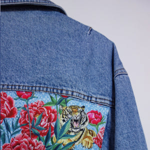 'Wampum' Denim Jacket, Tigers and Peonies