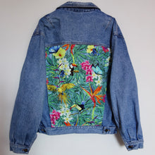 Load image into Gallery viewer, 'Wampum' Denim Jacket, Tropical Rainforest design.