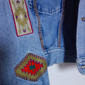 The Tribal 'Turquoise World' Denim Jacket, Green Leopard Lily design