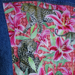 'Valley' Denim waistcoat, Pink Leopard Lily design *Limited Edition*