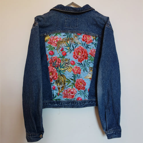'Gabrielli' Denim Jacket, Tigers and Peonies design