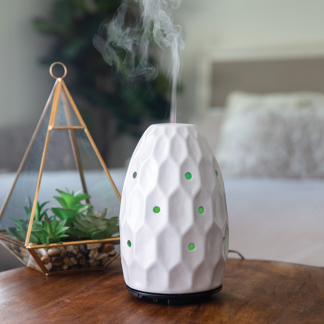 White Hexagon 8 Hour Spa Sounds Ultrasonic Diffuser