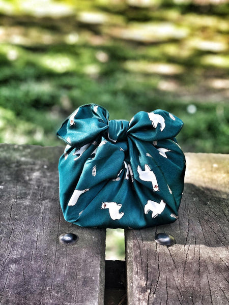 Patterned silky satin ¨green alpaca¨ - reusable fabric furoshiki gift wrap/ scarf