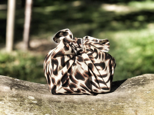 Patterned silky satin leopard print -  reusable fabric furoshiki gift wrap/ scarf