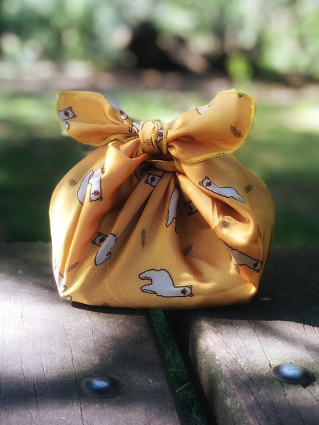 Patterned silky satin 'yellow alpaca' - reusable fabric furoshiki gift wrap/ scarf