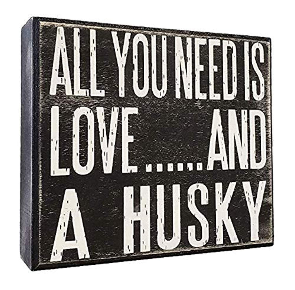 Rustic Wooden Stand Up Box Sign - With Love & Husky Inscription - ProsperDog