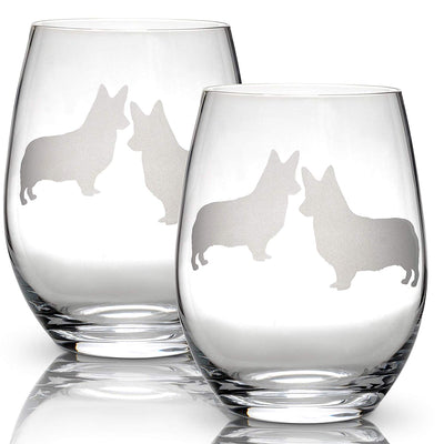 Corgi Stemless Wine Glasses - ProsperDog