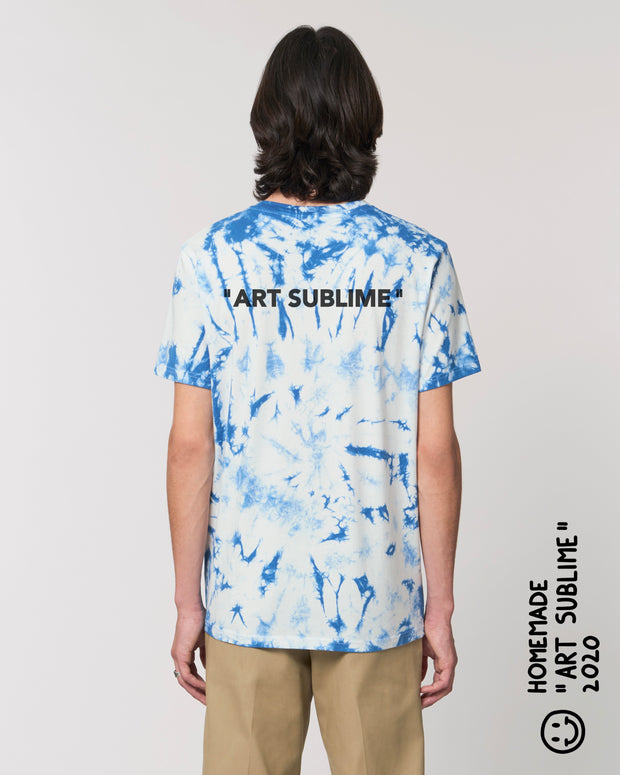 "T-SHIRT TIE AND DYE UNISEXE ""ART SUBLIME"" - BLEU/ROUGE"