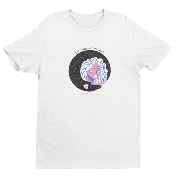 T-SHIRT UNISEXE POWER OF THE MOON - BLANC/ROSE