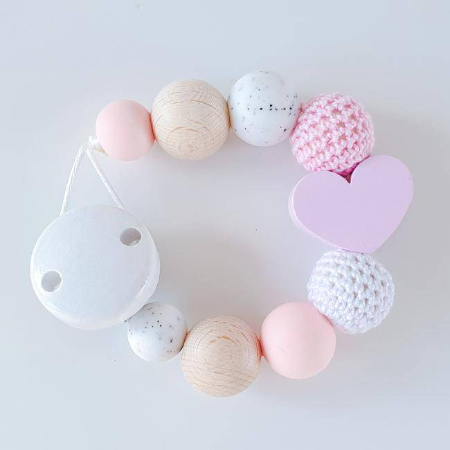 "Schnullerkette - ""Be Lovely"" in Rosa - KleinKinderKram Baby Online Shop"